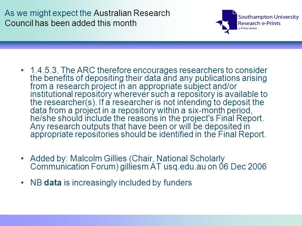 As we might expect the Australian Research Council has been added this month 1.4.5.3.
