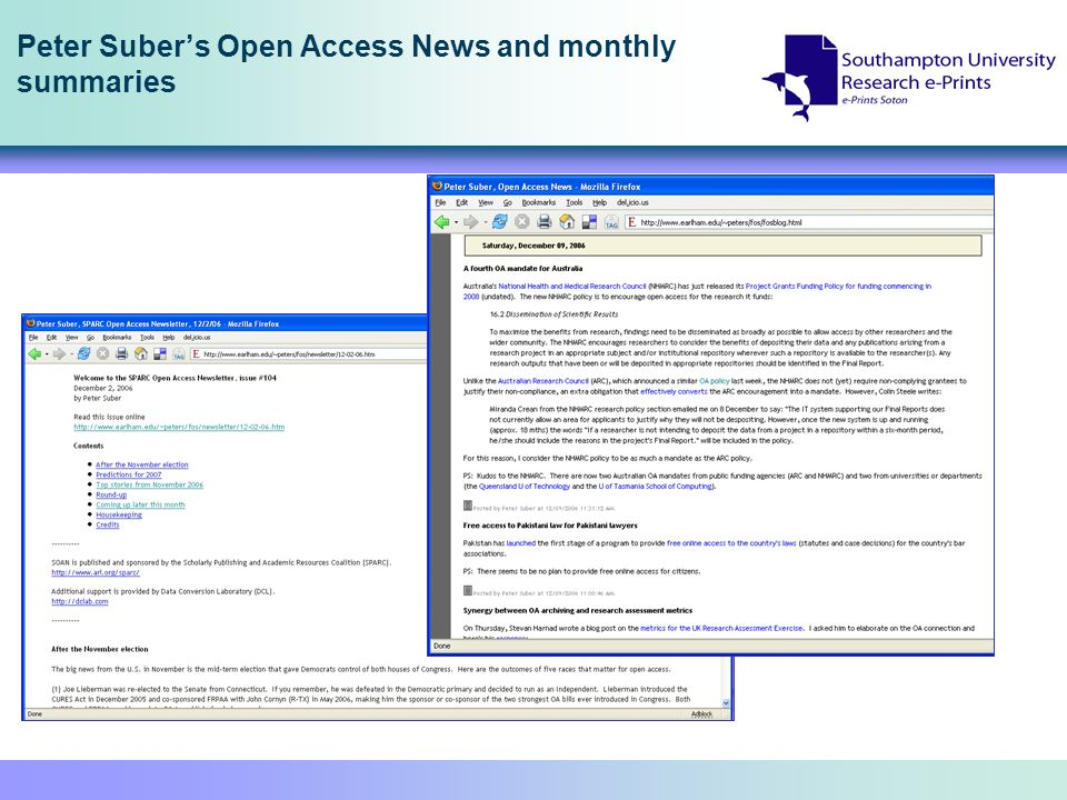 Peter Subers Open Access News and monthly summaries
