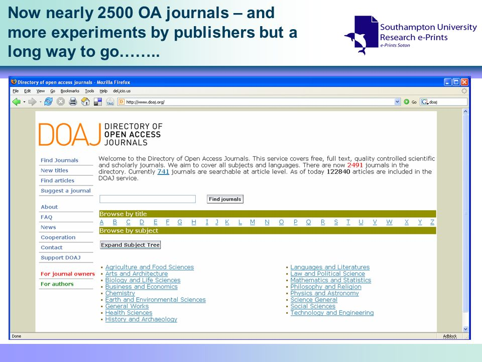 Now nearly 2500 OA journals – and more experiments by publishers but a long way to go……..