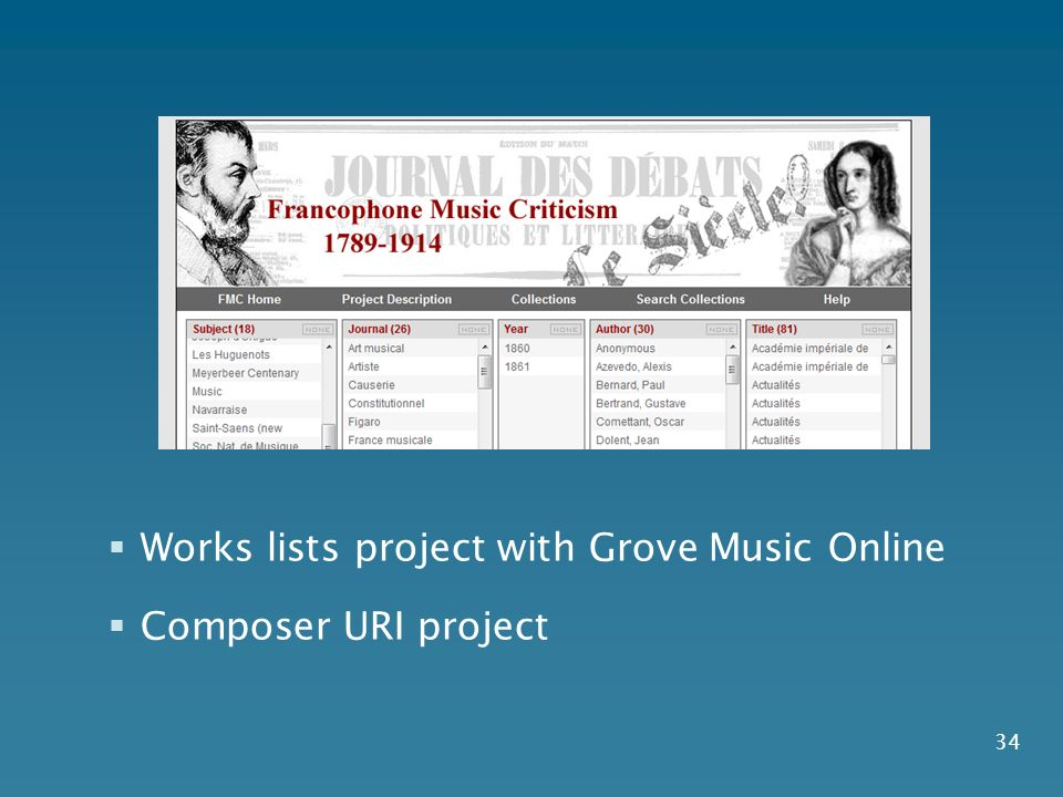 34 Works lists project with Grove Music Online Composer URI project