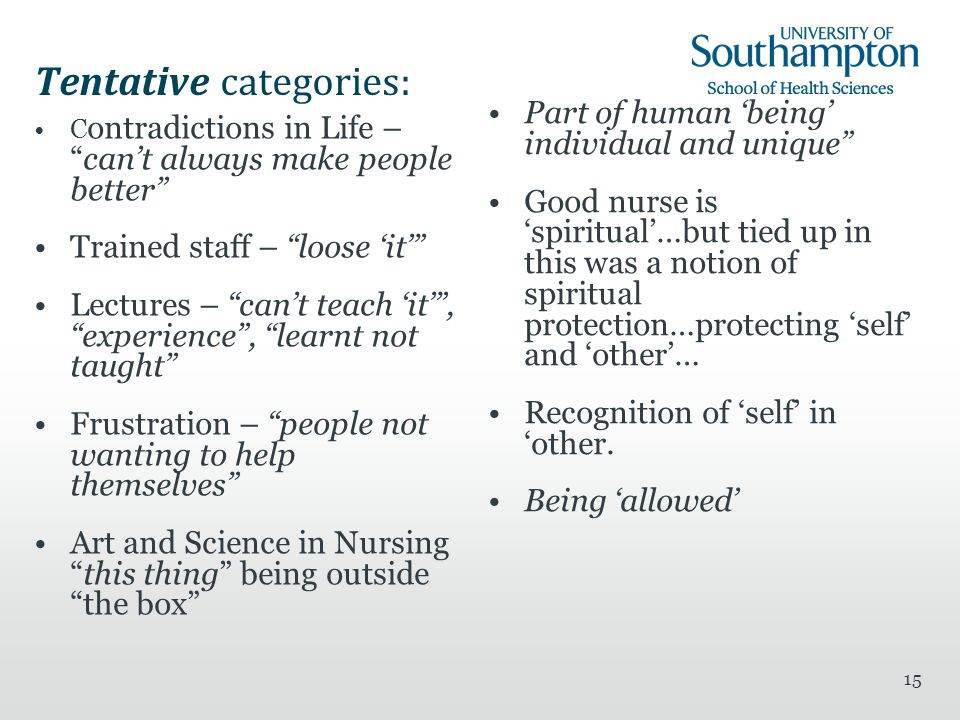 15 Tentative categories: C ontradictions in Life –cant always make people better Trained staff – loose it Lectures – cant teach it, experience, learnt not taught Frustration – people not wanting to help themselves Art and Science in Nursingthis thing being outside the box Part of human being individual and unique Good nurse is spiritual…but tied up in this was a notion of spiritual protection…protecting self and other… Recognition of self in other.
