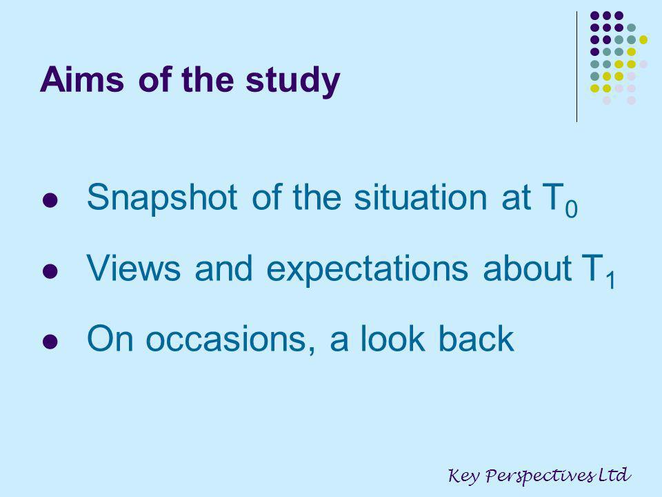 Aims of the study Snapshot of the situation at T 0 Views and expectations about T 1 On occasions, a look back Key Perspectives Ltd