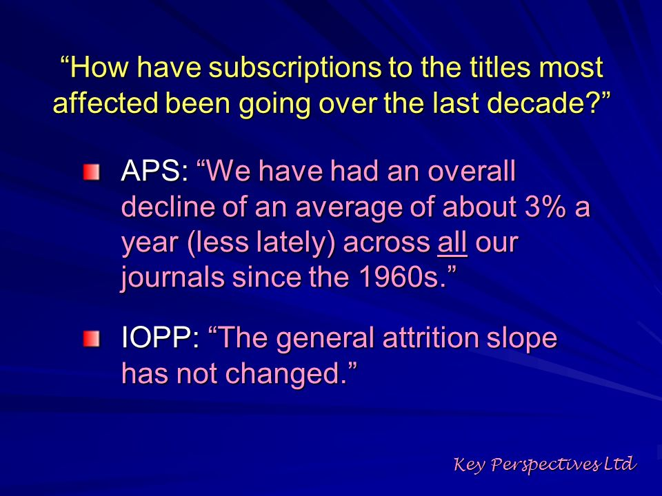 How have subscriptions to the titles most affected been going over the last decade.