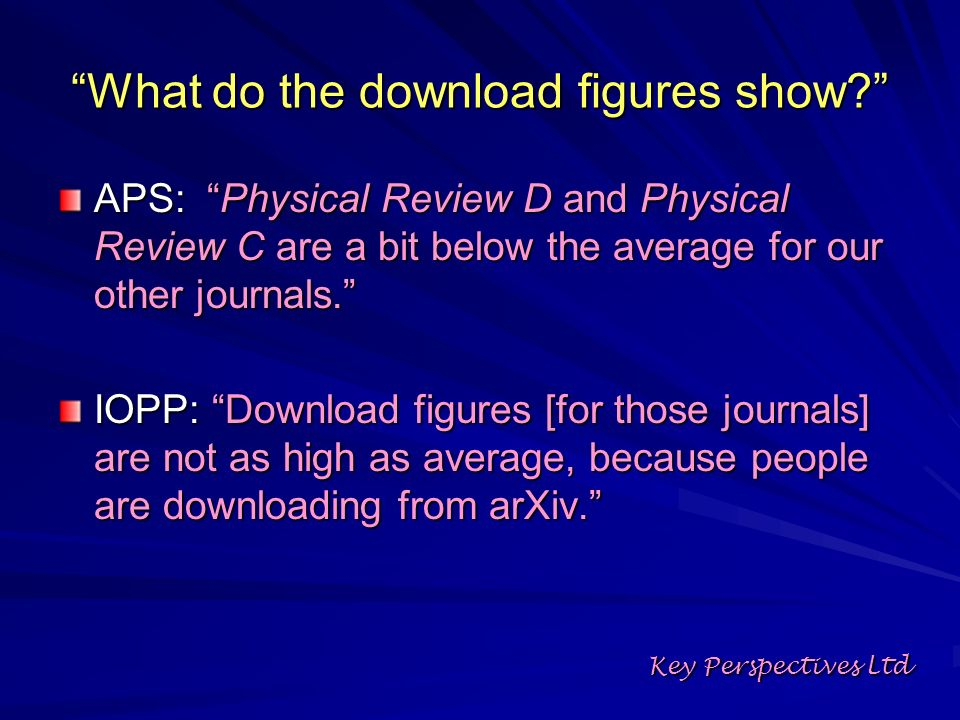 What do the download figures show? APS: Physical Review D and Physical Review C are a bit below the average for our other journals. IOPP: Download fig