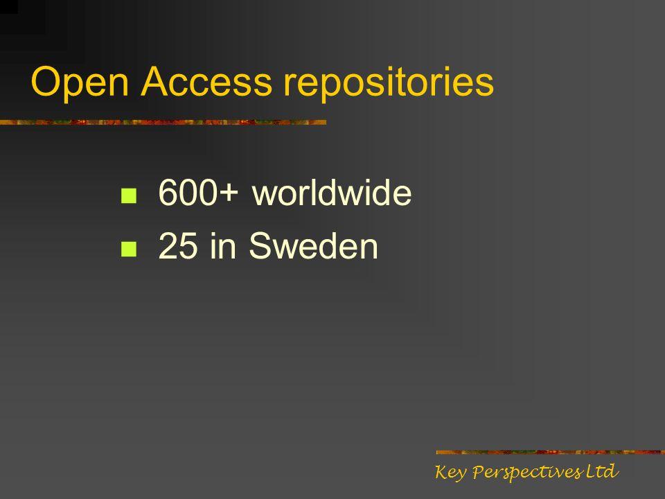 Open Access repositories 600+ worldwide 25 in Sweden Key Perspectives Ltd