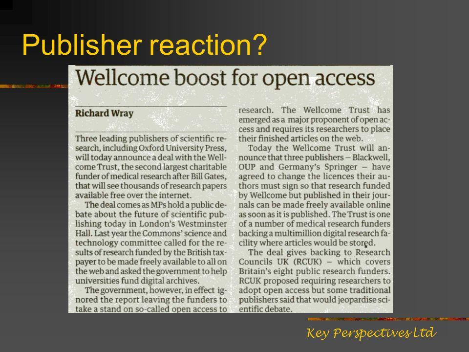 Publisher reaction Key Perspectives Ltd