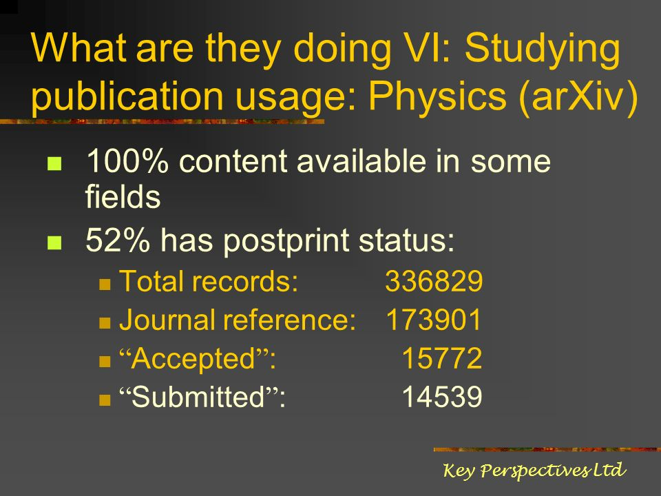 What are they doing VI: Studying publication usage: Physics (arXiv) 100% content available in some fields 52% has postprint status: Total records: 336