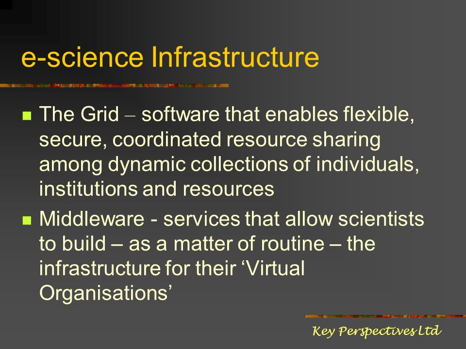 e-science Infrastructure The Grid – software that enables flexible, secure, coordinated resource sharing among dynamic collections of individuals, ins