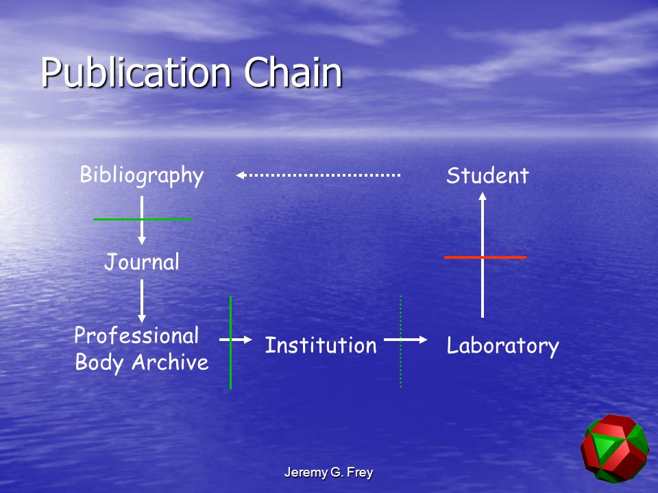 Jeremy G. Frey Publication Chain Institution Laboratory Student Journal Bibliography Professional Body Archive