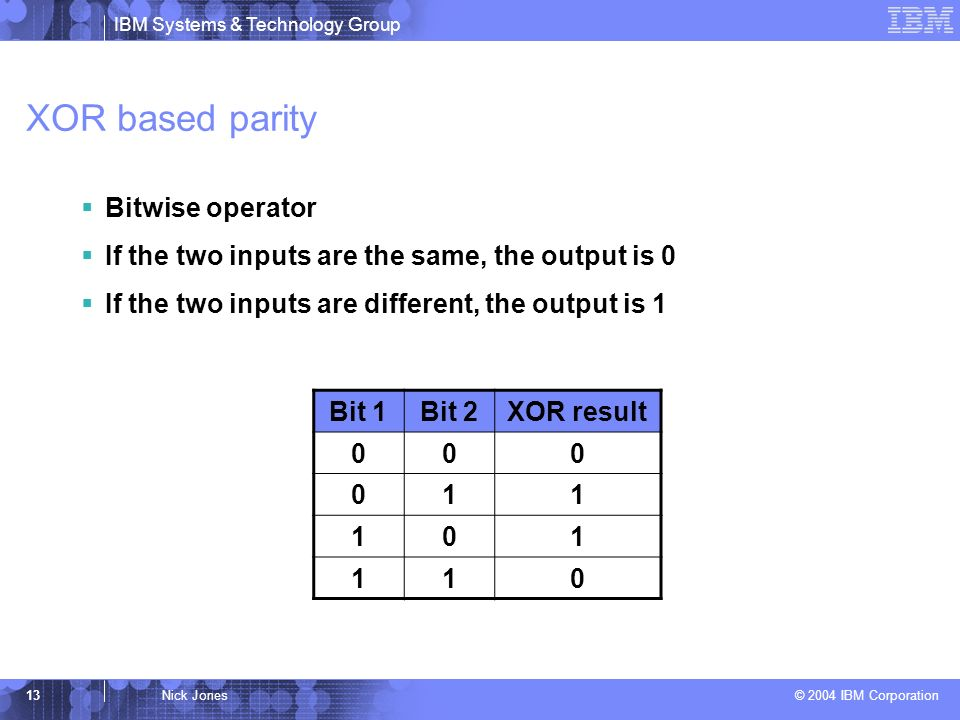 IBM Systems & Technology Group © 2004 IBM Corporation 13Nick Jones XOR based parity Bitwise operator If the two inputs are the same, the output is 0 If the two inputs are different, the output is 1 Bit 1Bit 2XOR result