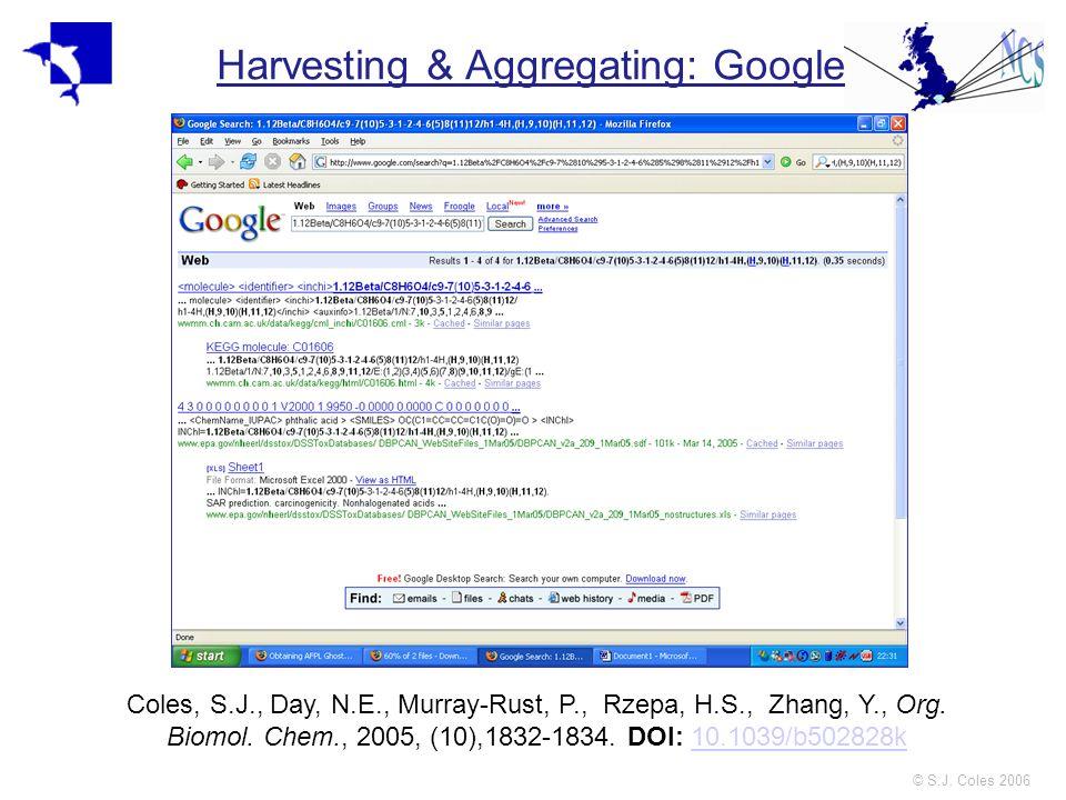 © S.J. Coles 2006 Harvesting & Aggregating: Google Coles, S.J., Day, N.E., Murray-Rust, P., Rzepa, H.S., Zhang, Y., Org. Biomol. Chem., 2005, (10),183