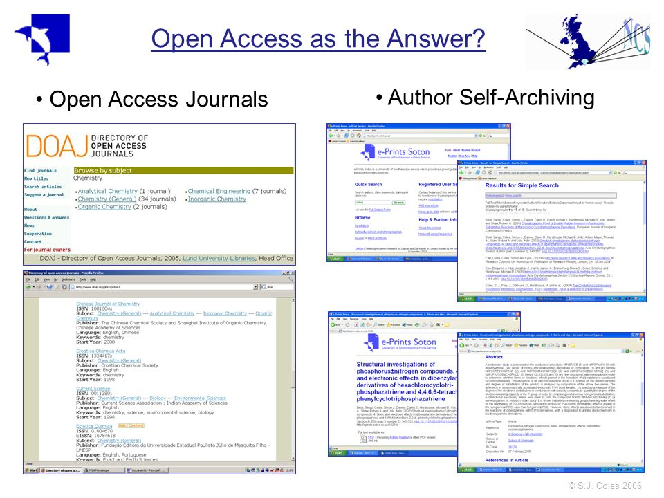 © S.J. Coles 2006 Open Access as the Answer? Open Access Journals Author Self-Archiving