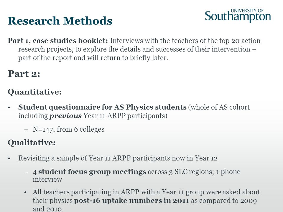 Research Methods Part 1, case studies booklet: Interviews with the teachers of the top 20 action research projects, to explore the details and successes of their intervention – part of the report and will return to briefly later.