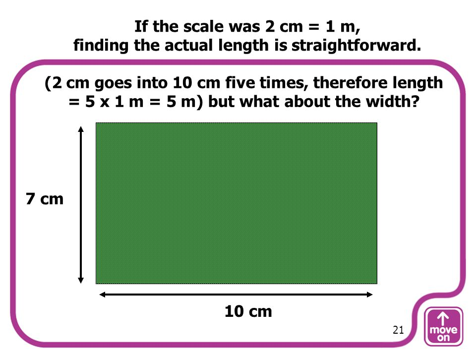 (2 cm goes into 10 cm five times, therefore length = 5 x 1 m = 5 m) but what about the width? 10 cm 7 cm If the scale was 2 cm = 1 m, finding the actu