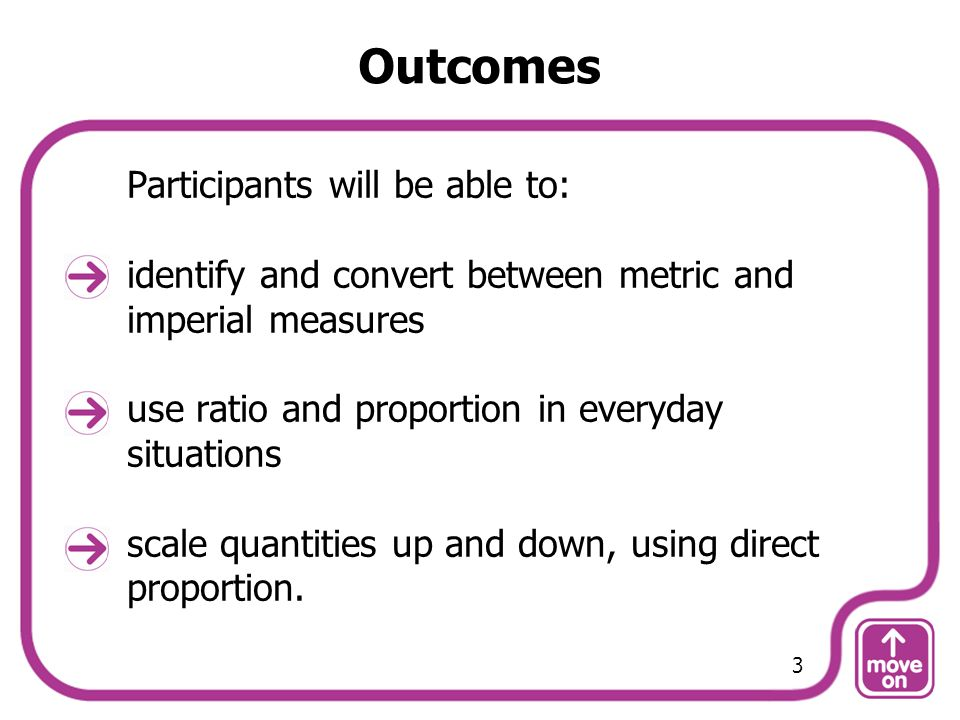 Outcomes Participants will be able to: identify and convert between metric and imperial measures use ratio and proportion in everyday situations scale