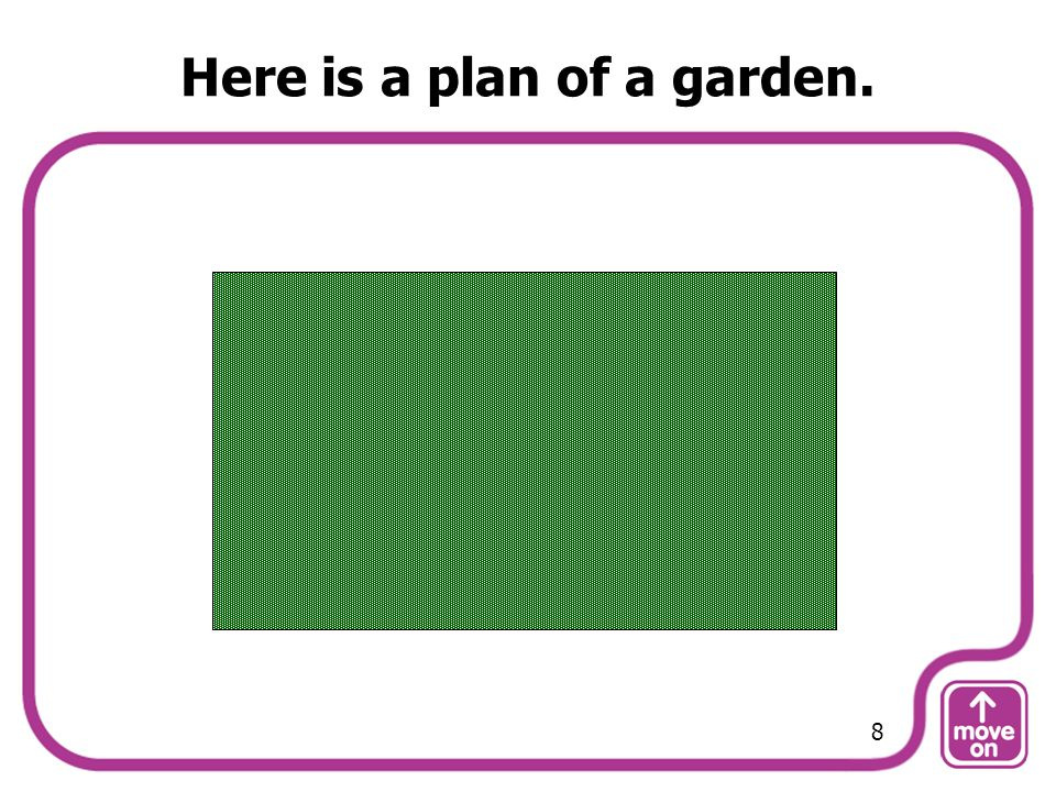 Here is a plan of a garden. 8