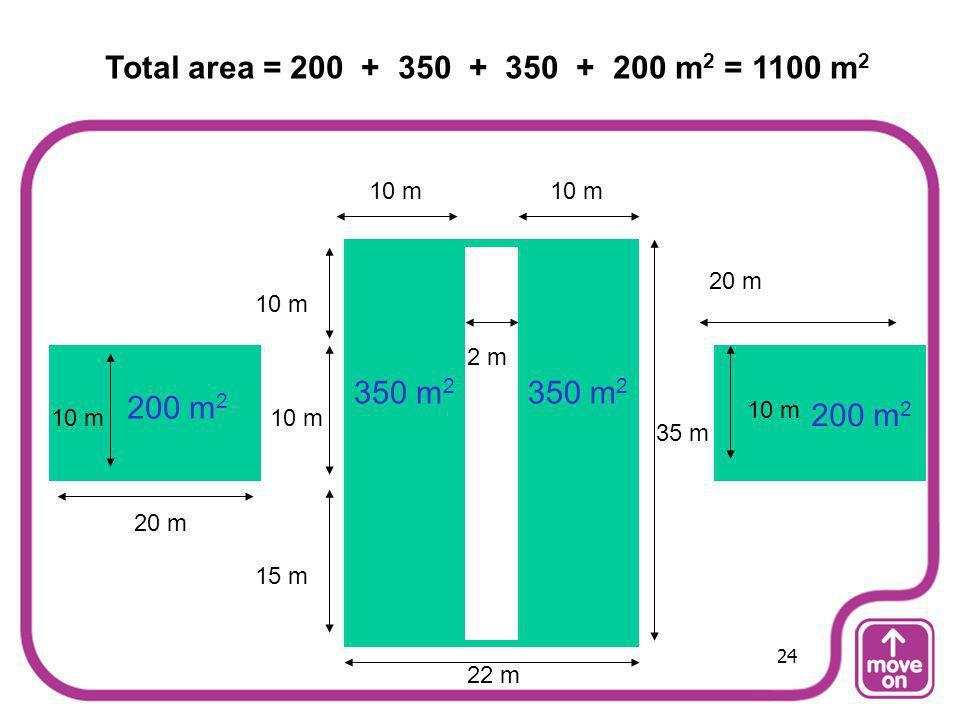 20 m 15 m 10 m 35 m 10 m 2 m 200 m 2 350 m 2 Total area = 200 + 350 + 350 + 200 m 2 = 1100 m 2 22 m 24