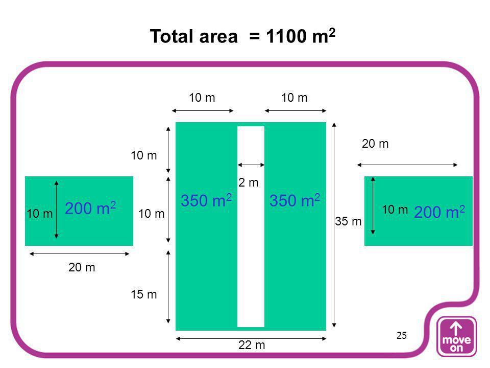 20 m 15 m 10 m 35 m 10 m 2 m 200 m 2 350 m 2 Total area = 1100 m 2 22 m 25