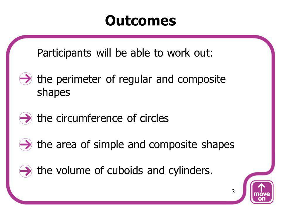 Outcomes Participants will be able to work out: the perimeter of regular and composite shapes the circumference of circles the area of simple and comp