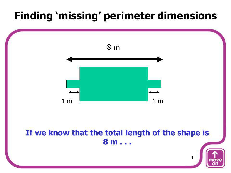 8 m 1 m... and that the two smaller rectangles are both 1 m long... 5