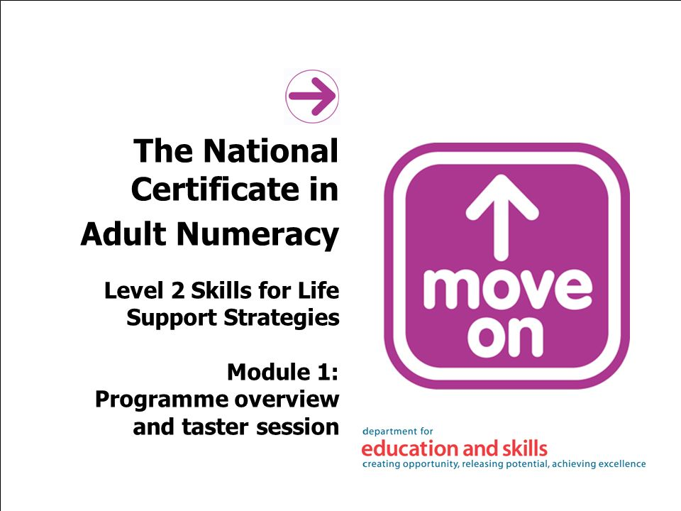 The National Certificate in Adult Numeracy Level 2 Skills for Life Support Strategies Module 1: Programme overview and taster session
