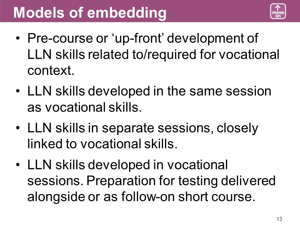 13 Models of embedding Pre-course or up-front development of LLN skills related to/required for vocational context. LLN skills developed in the same s