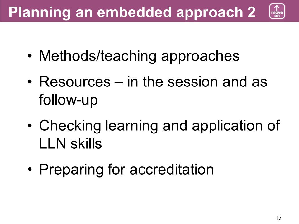 15 Planning an embedded approach 2 Methods/teaching approaches Resources – in the session and as follow-up Checking learning and application of LLN skills Preparing for accreditation