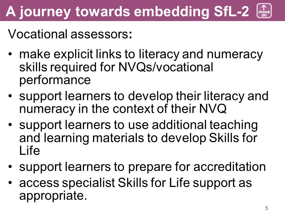 5 A journey towards embedding SfL-2 Vocational assessors: make explicit links to literacy and numeracy skills required for NVQs/vocational performance