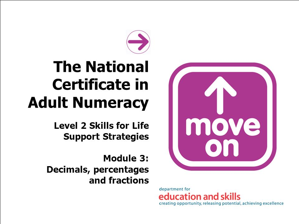The National Certificate in Adult Numeracy Level 2 Skills for Life Support Strategies Module 3: Decimals, percentages and fractions