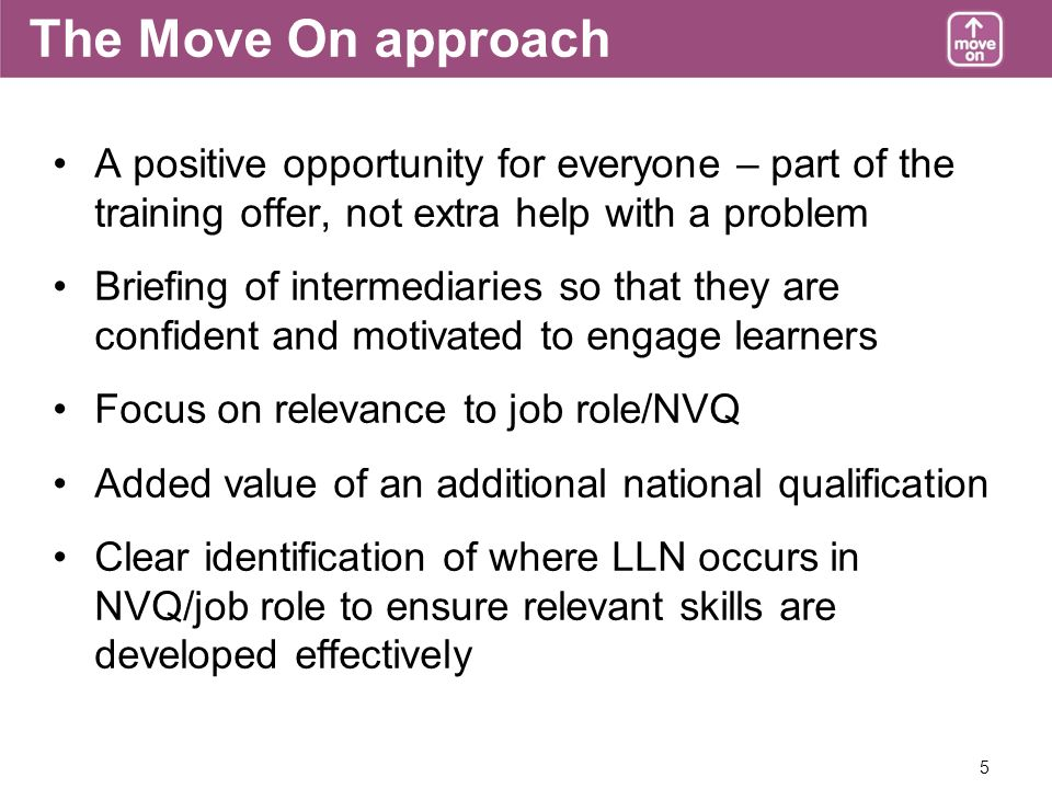 5 The Move On approach A positive opportunity for everyone – part of the training offer, not extra help with a problem Briefing of intermediaries so that they are confident and motivated to engage learners Focus on relevance to job role/NVQ Added value of an additional national qualification Clear identification of where LLN occurs in NVQ/job role to ensure relevant skills are developed effectively