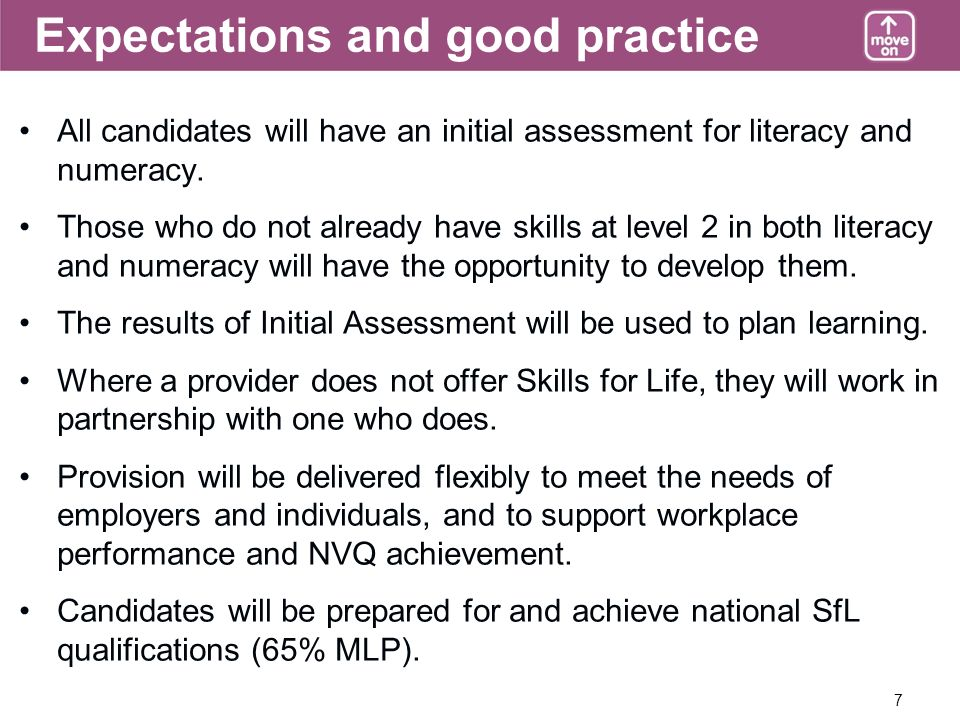 7 Expectations and good practice All candidates will have an initial assessment for literacy and numeracy.