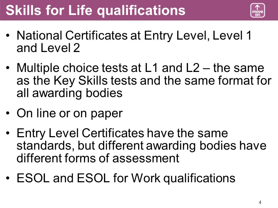 4 Skills for Life qualifications National Certificates at Entry Level, Level 1 and Level 2 Multiple choice tests at L1 and L2 – the same as the Key Skills tests and the same format for all awarding bodies On line or on paper Entry Level Certificates have the same standards, but different awarding bodies have different forms of assessment ESOL and ESOL for Work qualifications