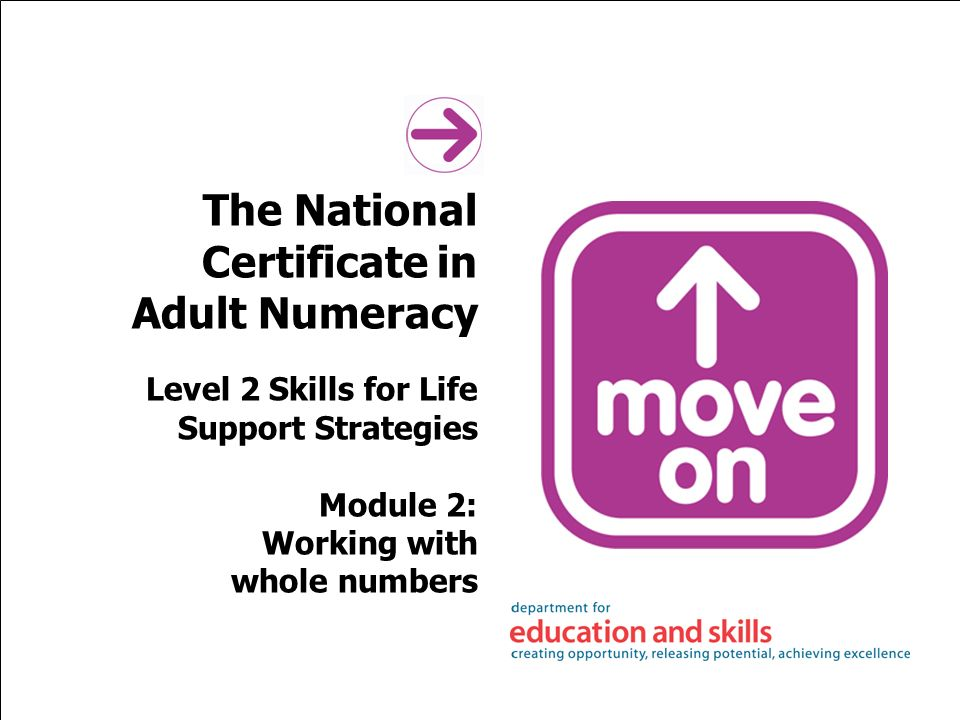 The National Certificate in Adult Numeracy Level 2 Skills for Life Support Strategies Module 2: Working with whole numbers