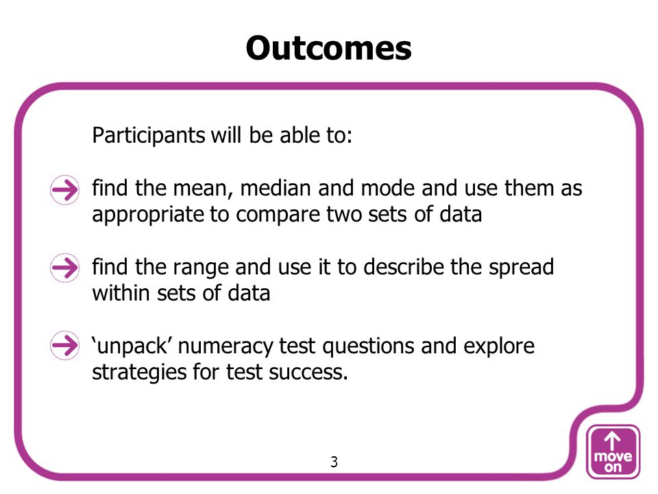 Outcomes Participants will be able to: find the mean, median and mode and use them as appropriate to compare two sets of data find the range and use i