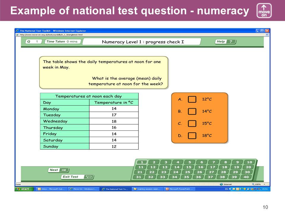 10 Example of national test question - numeracy