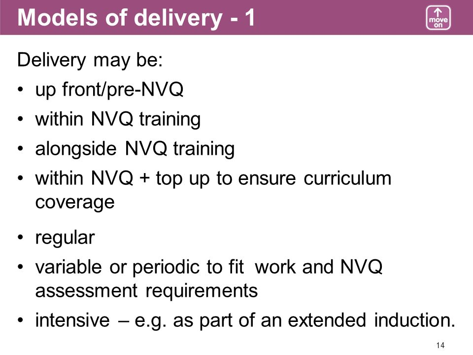 14 Models of delivery - 1 Delivery may be: up front/pre-NVQ within NVQ training alongside NVQ training within NVQ + top up to ensure curriculum coverage regular variable or periodic to fit work and NVQ assessment requirements intensive – e.g.