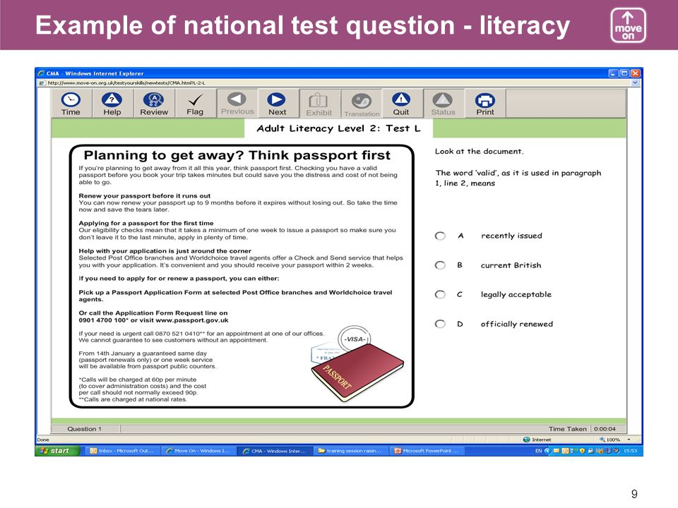 9 Example of national test question - literacy