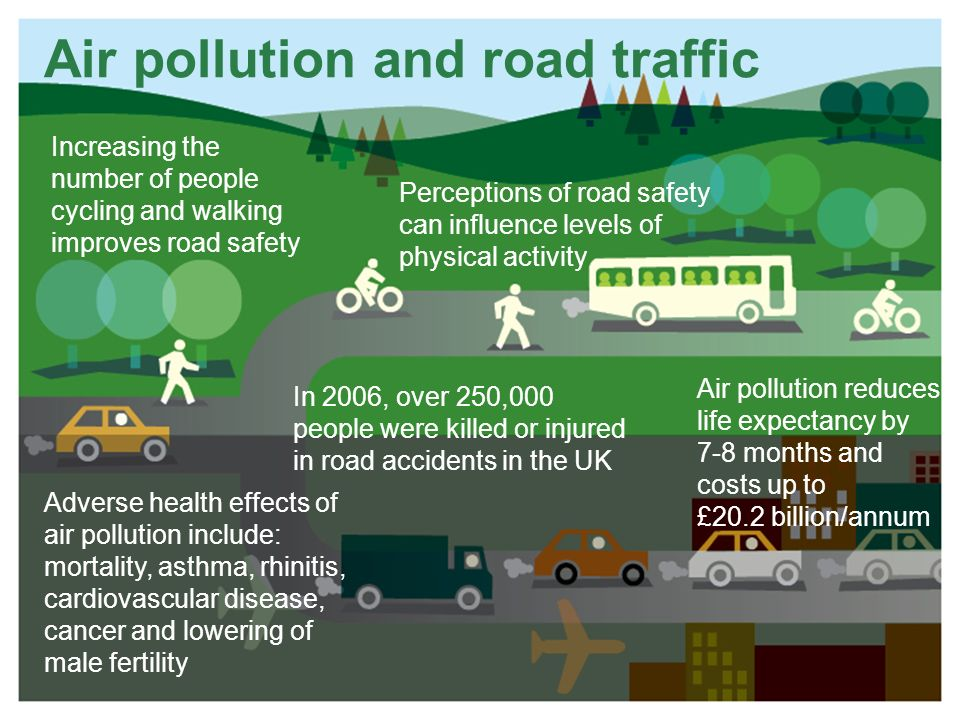 Air pollution and road traffic Perceptions of road safety can influence levels of physical activity Increasing the number of people cycling and walking improves road safety Adverse health effects of air pollution include: mortality, asthma, rhinitis, cardiovascular disease, cancer and lowering of male fertility Air pollution reduces life expectancy by 7-8 months and costs up to £20.2 billion/annum In 2006, over 250,000 people were killed or injured in road accidents in the UK