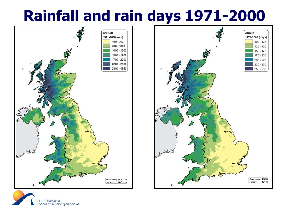 © UKCIP 2006 Rainfall and rain days 1971-2000