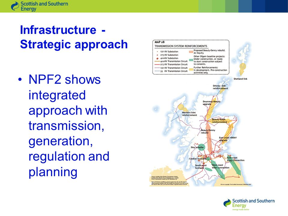 Infrastructure - Strategic approach NPF2 shows integrated approach with transmission, generation, regulation and planning