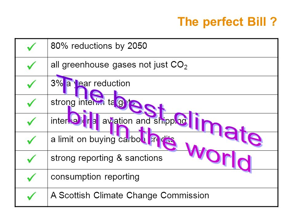 The perfect Bill ? 80% reductions by 2050 all greenhouse gases not just CO 2 3% a year reduction strong interim targets international aviation and shi