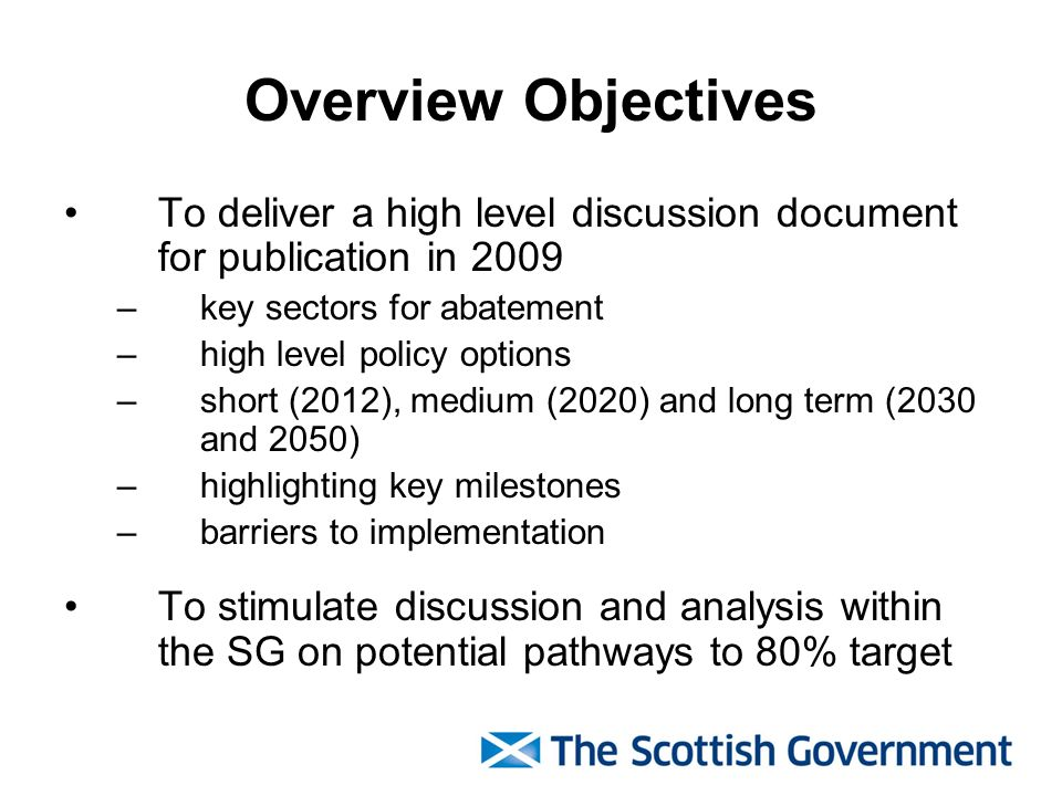 Overview Objectives To deliver a high level discussion document for publication in 2009 –key sectors for abatement –high level policy options –short (
