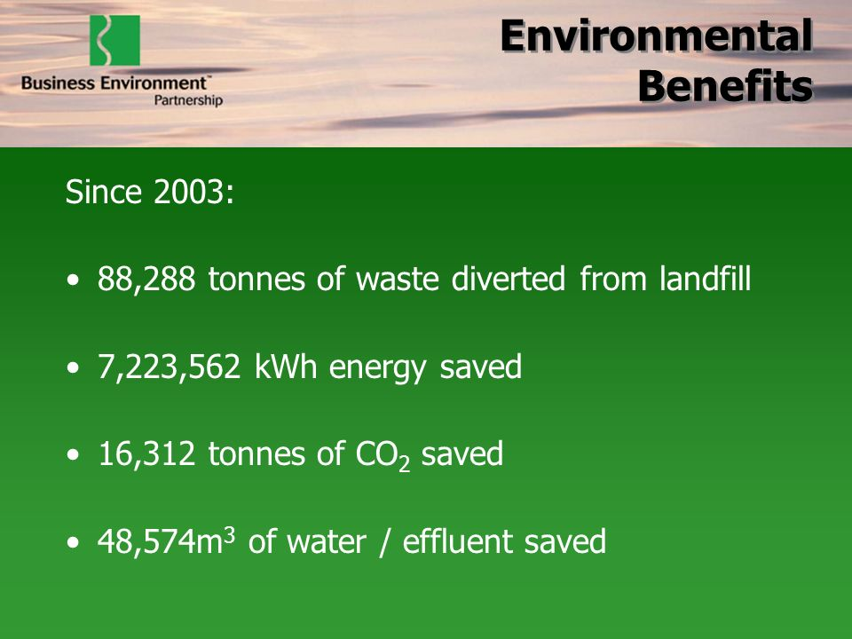 Environmental Benefits Since 2003: 88,288 tonnes of waste diverted from landfill 7,223,562 kWh energy saved 16,312 tonnes of CO 2 saved 48,574m 3 of w