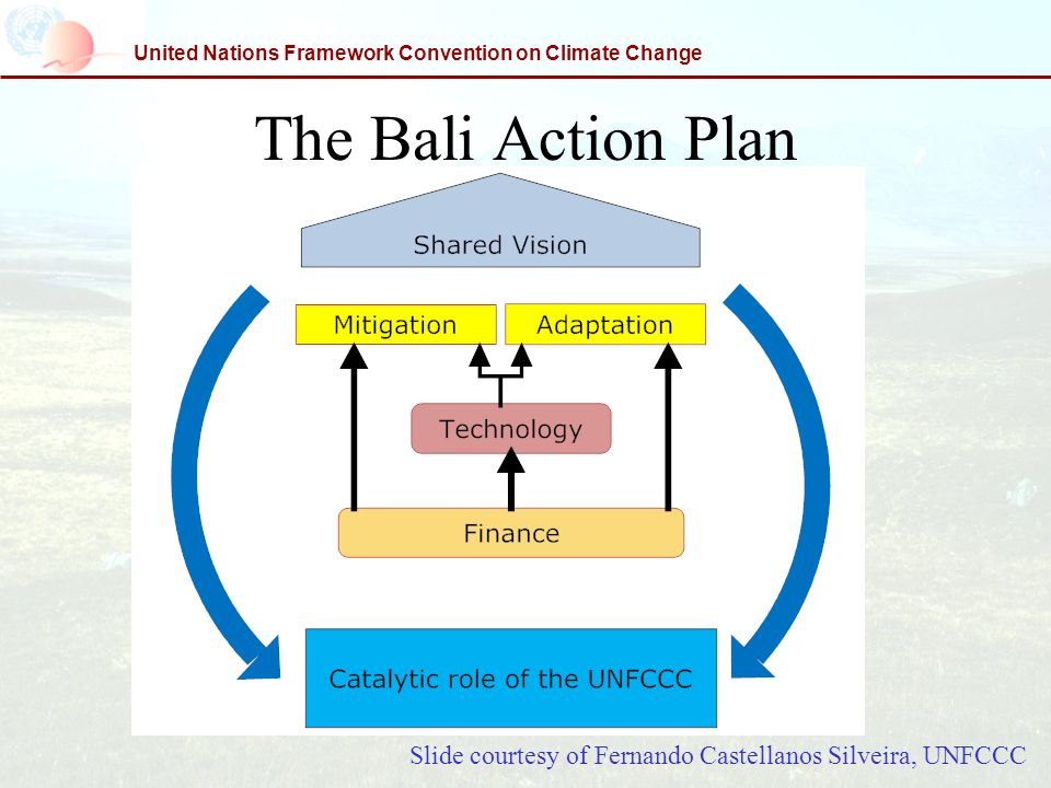 United Nations Framework Convention on Climate Change The Bali Action Plan Slide courtesy of Fernando Castellanos Silveira, UNFCCC