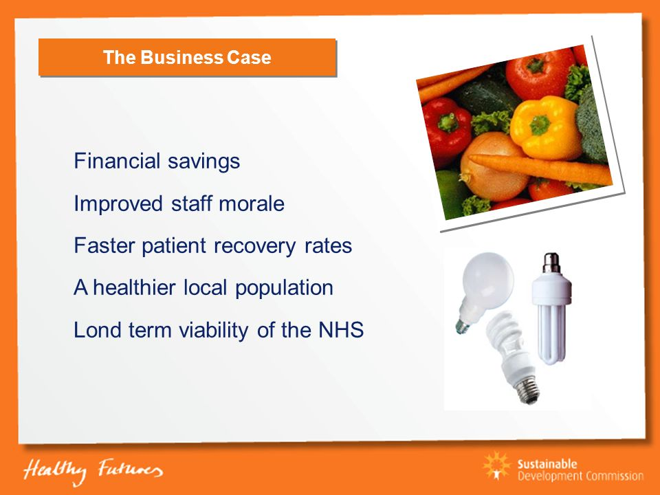 The Business Case Financial savings Improved staff morale Faster patient recovery rates A healthier local population Lond term viability of the NHS