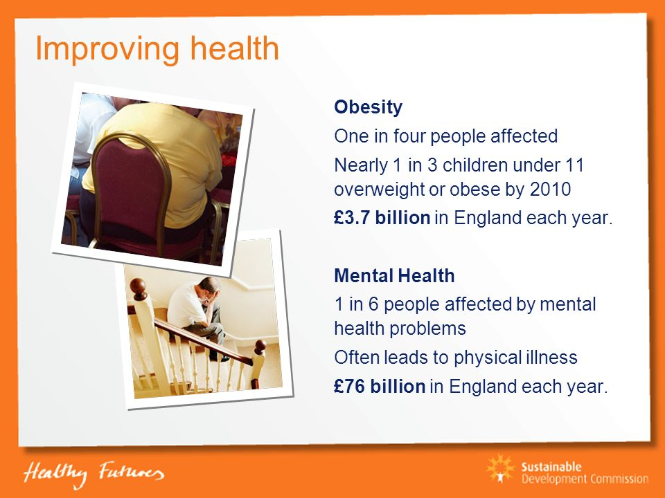 Improving health Obesity One in four people affected Nearly 1 in 3 children under 11 overweight or obese by 2010 £3.7 billion in England each year.