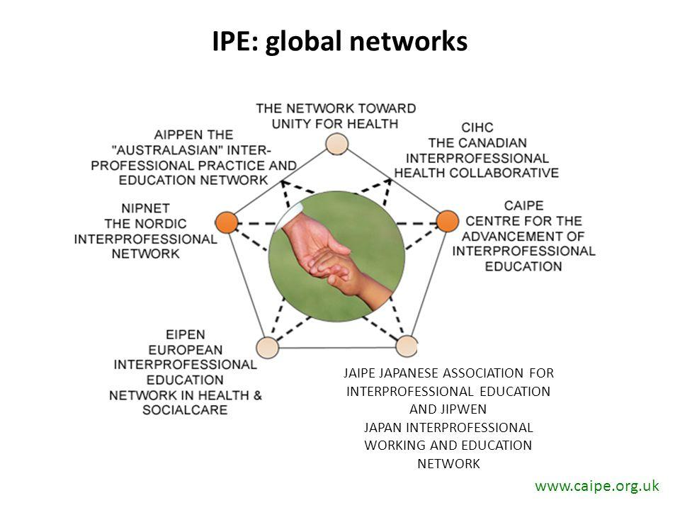 IPE: global networks JAIPE JAPANESE ASSOCIATION FOR INTERPROFESSIONAL EDUCATION AND JIPWEN JAPAN INTERPROFESSIONAL WORKING AND EDUCATION NETWORK www.caipe.org.uk