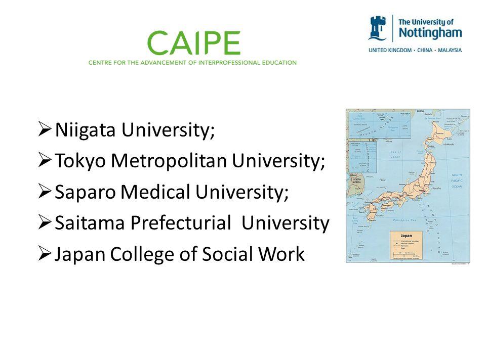 Niigata University; Tokyo Metropolitan University; Saparo Medical University; Saitama Prefecturial University Japan College of Social Work