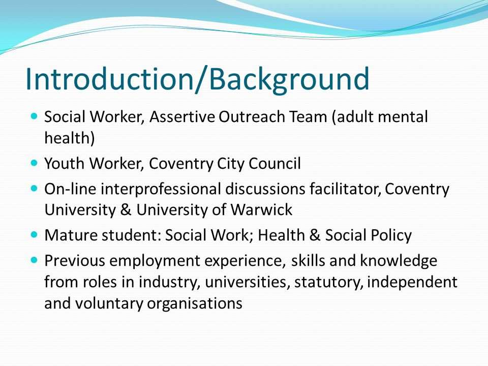 Interprofessional Learning and Education Shared modules and study Practice placements Online IPLP programme Fear, uncertainty and confusion Dominance of the healthcare professions/medical model Limited consideration/understanding of social issues/factors Dawning enlightenment