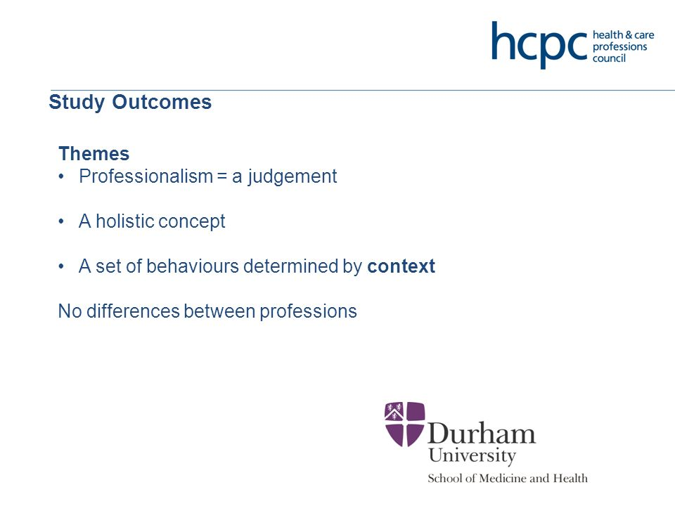 Study Outcomes Themes Professionalism = a judgement A holistic concept A set of behaviours determined by context No differences between professions